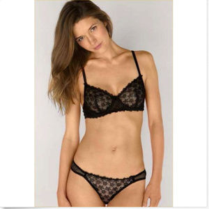 c60a73ad9b MIMI HOLLIDAY BLACK PENGUIN LACE COMFORT BRA 36A